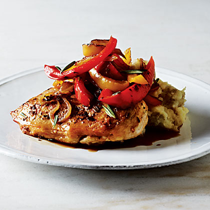 Roast Chicken with Balsamic Bell Peppers Recipe | MyRecipes.com