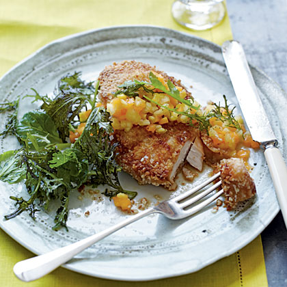 Macadamia Nut Chicken with Papaya-Pineapple Relish