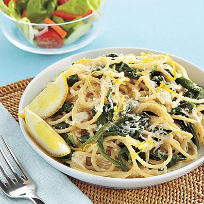 Spaghetti with Ricotta, Lemon and SpinachRecipe