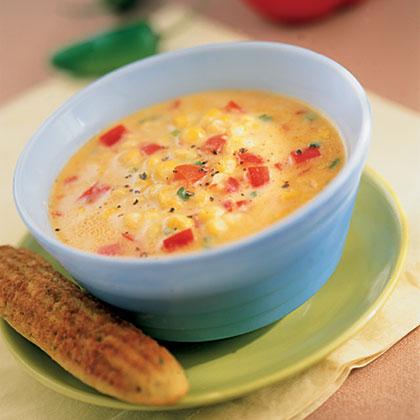 Southwestern Corn and Red Pepper Soup Recipe