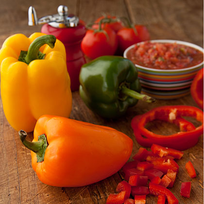 With their multicolored skins, bell peppers add bright, vibrant color to any dish. Eat them raw or coax new flavors from these versatile vegetables with easy techniques like roasting and sautéeing. Once purchased, store peppers in a plastic bag in the refrigerator and use within a week.