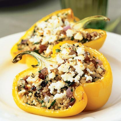 Mediterranean Lamb- and Couscous-Stuffed Peppers RecipeStuffed yellow bell peppers take on rich global flavors with a hearty filling of ground lamb, herbs, and salty feta cheese. Substitute ground beef or turkey for the lamb if you like, but keep the mint-thyme-rosemary herb combination for maximum flavor.