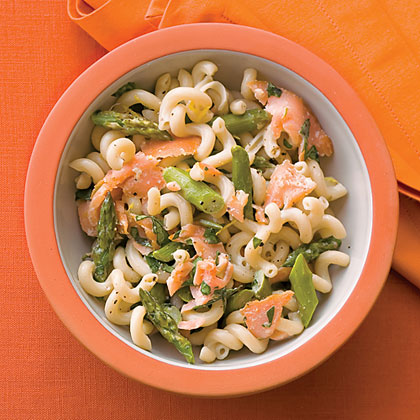 Asparagus, Salmon, and Basil Brown-Rice Fusilli