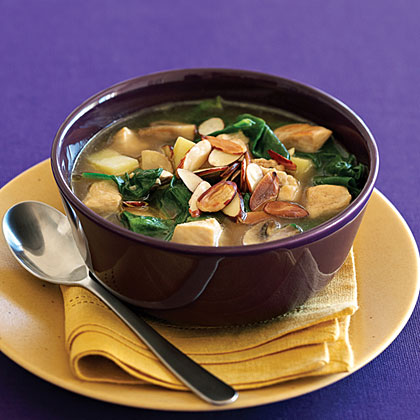 Chicken Soup with Saffron and Almonds