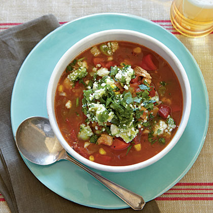 Chili-Spiced Chicken Soup with Stoplight Peppers and Avocado Relish Recipe