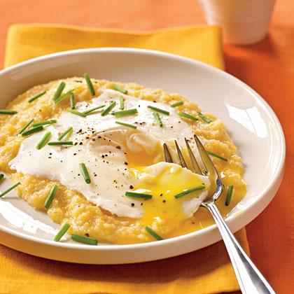 Eggs Blindfolded over Garlic Cheddar Grits