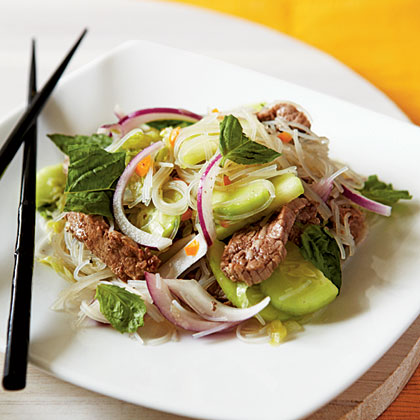 Think salads aren't filling? Then you haven't tried this one packed with rice noodles, fresh vegetables, and tender steak.Fiery Beef and Rice Noodle Salad
