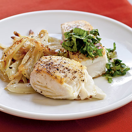 Halibut with Caper Verde Salsa
