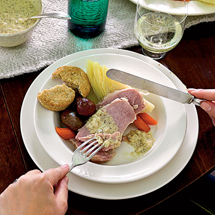 Irish Bacon and Cabbage with Mustard Sauce