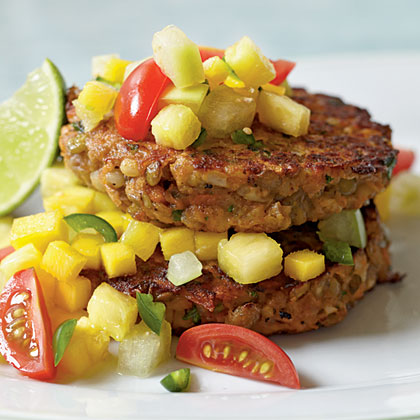 Lentil-Barley Burgers with Fiery Fruit Salsa Recipe