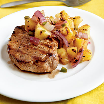 Pan Grilled Pork Chops With Grilled Pineapple Salsa Recipe