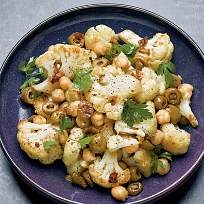 Roasted Cauliflower, Chickpeas, and OlivesRecipe