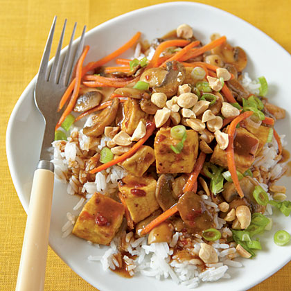 Spice up your supper with this Asian-flavored vegetarian dish. For meat-lovers, feel free to substitute chicken for tofu.Szechuan-Style Tofu with Peanuts