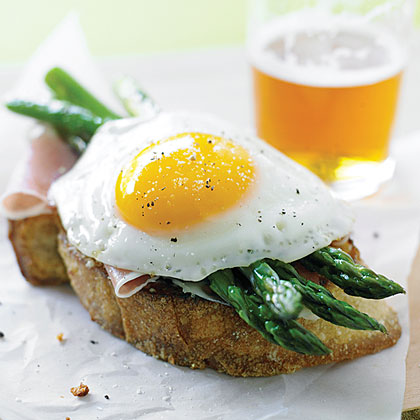 Parmesan Toasts with Asparagus, Prosciutto, and EggsRecipe