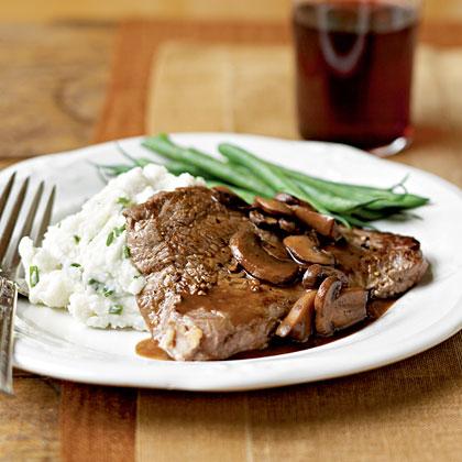 Sirloin Steaks with Mushroom Sauce and Chive-Garlic PotatoesRecipe