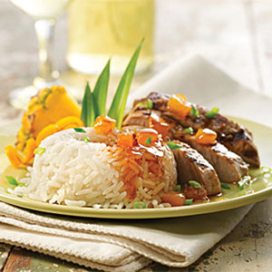Island Pork with Tropical Rice and Spicy Apricot Drizzle Recipes Recipe
