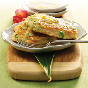 Shrimp and Jasmine Rice Cakes with Mango-Ginger Coconut Sauce Recipes