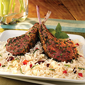 Herb Crusted Lamb Chops with Mediterranean Rice Recipes