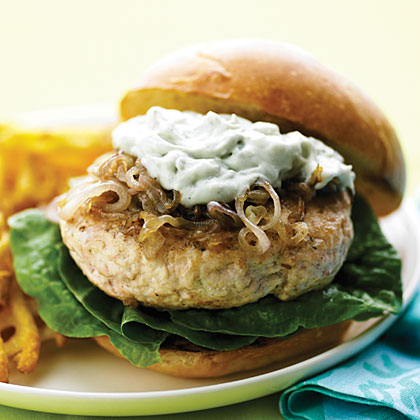 Chicken Burgers with Caramelized Shallots and Blue CheeseRecipe