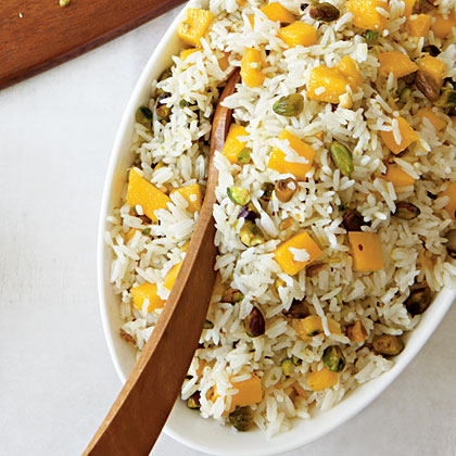 Coconut Rice with Mangoes and Pistachios