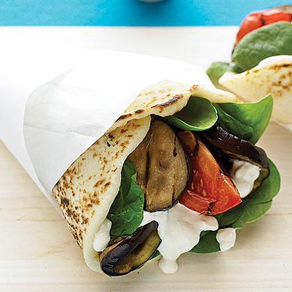Grilled Eggplant Naan Wraps with Tahini-Yogurt Dressing Recipe