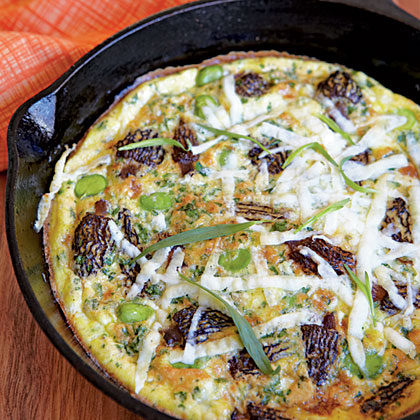 Frittata with Morels, Fava Beans, and Pecorino Romano Cheese Recipe