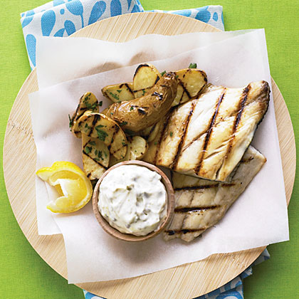 "Grilled Fish and ""Chips"" Recipe"