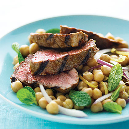 Harissa Lamb with Lemon Mint Chickpea Salad