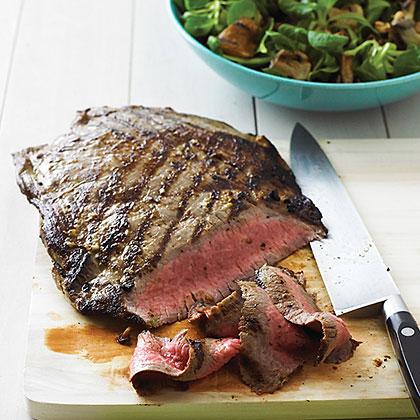 Grilled Horseradish Steak with Mushroom Salad
