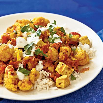Indian-Style Tofu and Cauliflower with Chutney