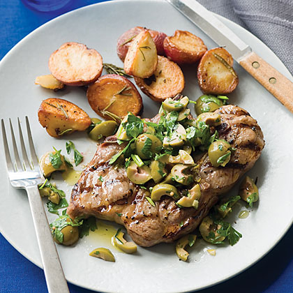 Lamb Blade Chops with Olive Parsley Salad