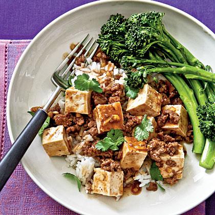Ma Po Tofu with Steamed Broccolini Recipe