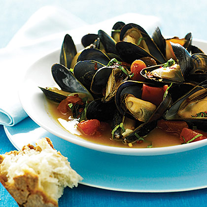 Orange and Basil Mussels