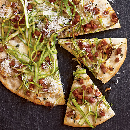 Flatbread with Pancetta, Mozzarella, and Asparagus Recipe | MyRecipes ...