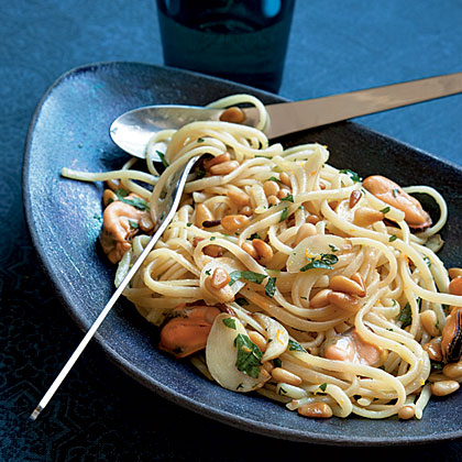 Pasta with Mussels, Pine Nuts, and Orange