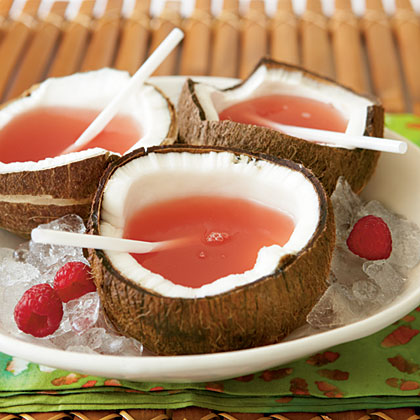 Pink Bikini RecipeSurprise your friends by serving this sweet, pink sipper in a halved coconut.