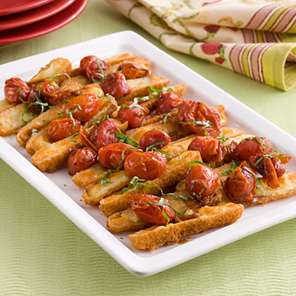 Oven-Roasted Cheese Sticks Caprese