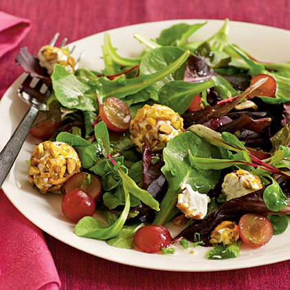 Spring Salad with Grapes and Pistachio-Crusted Goat Cheese