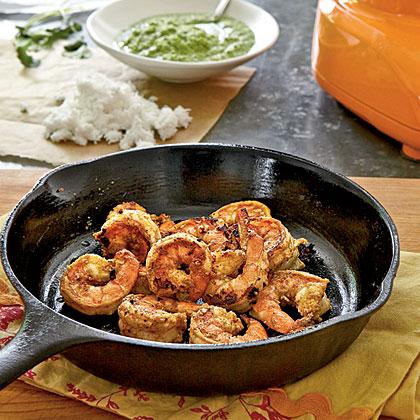 Tandoori Shrimp with Coconut-Cilantro Chutney Recipe