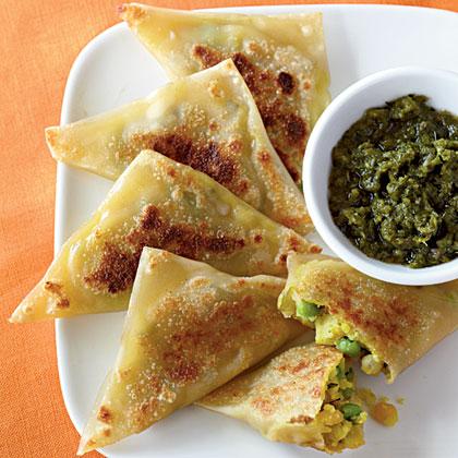 Curried Vegetable Samosas with Cilantro-Mint Chutney