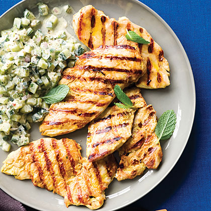 Grilled Yogurt Chicken with Cucumber Salad