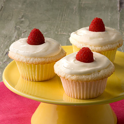 Lemon-Raspberry Angel Food Cupcakes