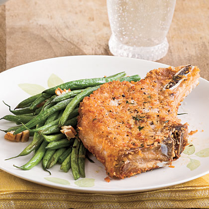 Oven-Fried Pork Chops With Roasted Green Beans and PecansRecipe
