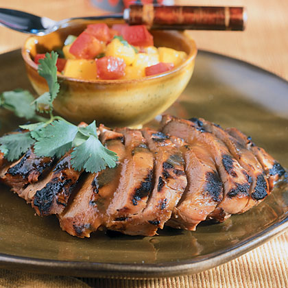 Barbecued Duck With Mango Salsa Recipe