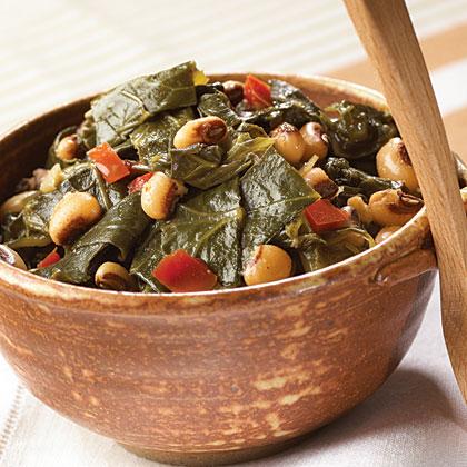 Cajun Black-Eyed Peas And Greens
