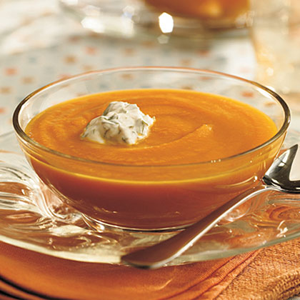 Carrot-Coriander Soup With Cilantro Cream