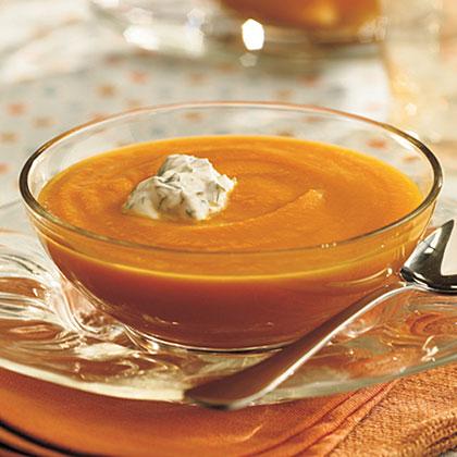 Carrot-Coriander Soup With Cilantro Cream Recipe