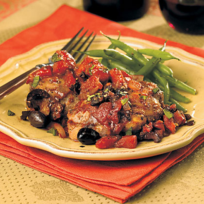 Chicken Thighs with Tomatoes and Olives