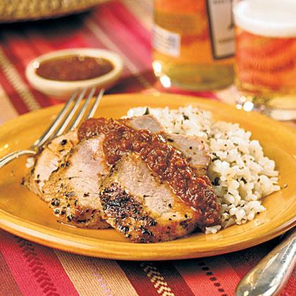 Chile-Rubbed Pork Tenderloin With Quick Mole Sauce