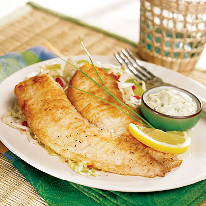 Pan Fried Tilapia With Tangy Tartar Sauce Recipe Myrecipes